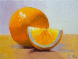 Orange slice by Eva Joshi Sen, Realism Painting, Oil on Canvas Board, Marigold color