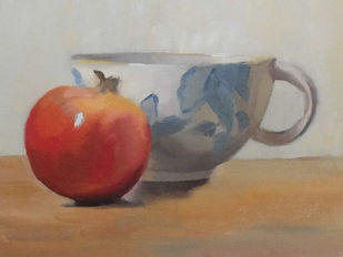 Pomegranate and cup by Eva Joshi Sen, Realism Painting, Oil on Canvas Board, Toast color