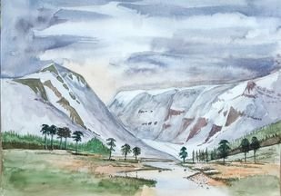 the dune by Shailesh Salvi, Impressionism Painting, Watercolor on Paper, Loblolly color