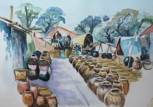 Potmaker at village by Shailesh Salvi, Impressionism Painting, Watercolor on Paper, Tower Gray color