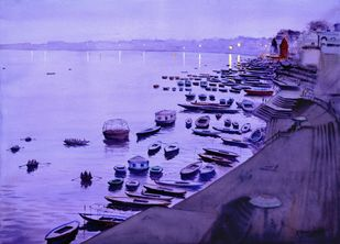 Dusk in Varanasi by Ramesh Jhawar, Impressionism Painting, Watercolor on Paper, Biloba Flower color