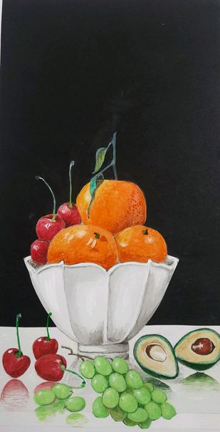 Fruit basket by Surendra Kumar Srivastava, Expressionism Painting, Pen, pencil, watercolour on paper, Rodeo Dust color