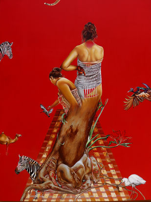 The Mothers Grace by Renuka Sondhi Gulati, Photorealism Painting, Oil & Acrylic on Canvas, Tabasco color
