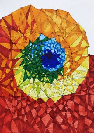 Ascension by Arun Kumar, Cubism Painting, Watercolor & Ink on Paper, Plantation color