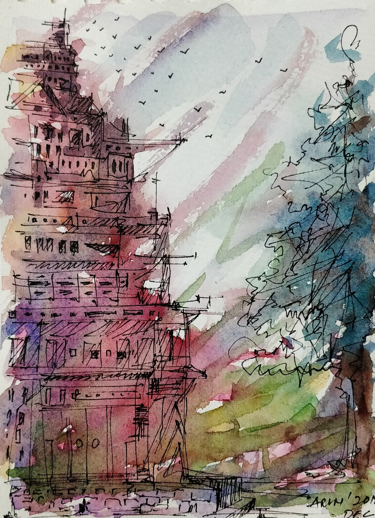 Before the storm by Arun Kumar, Impressionism Painting, Watercolor & Ink on Paper, Cotton Seed color
