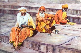 The mendicants of Kashi by Lasya Upadhyaya, Impressionism Painting, Acrylic on Canvas, Silver Rust color