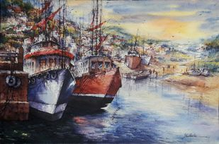 Twins boat by Shubhashis Mandal, Impressionism Painting, Watercolor on Paper, Cloudy color