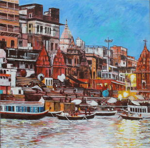 Kashi ke rang by Mamta Malhotra, Expressionism Painting, Acrylic on Canvas, Roman Coffee color