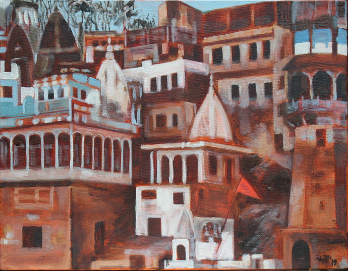 Temple on Ganga Ghat by Mamta Malhotra, Impressionism Painting, Oil on Canvas, Spicy Mix color