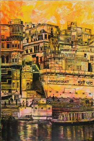 Munshi Ghat by Mamta Malhotra, Impressionism Painting, Oil on Canvas, Brandy Punch color