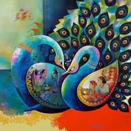 Affection 14 by Sanjay Tandekar, Fantasy Painting, Acrylic on Canvas, Raw Sienna color