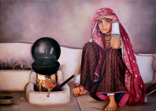 A Rajasthani Lady by Mohan Mahawar, Realism Painting, Oil on Canvas, Del Rio color