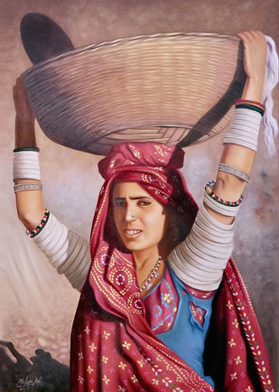 Rajasthani Lady by Mohan Mahawar, Realism Painting, Oil on Canvas, Sandrift color