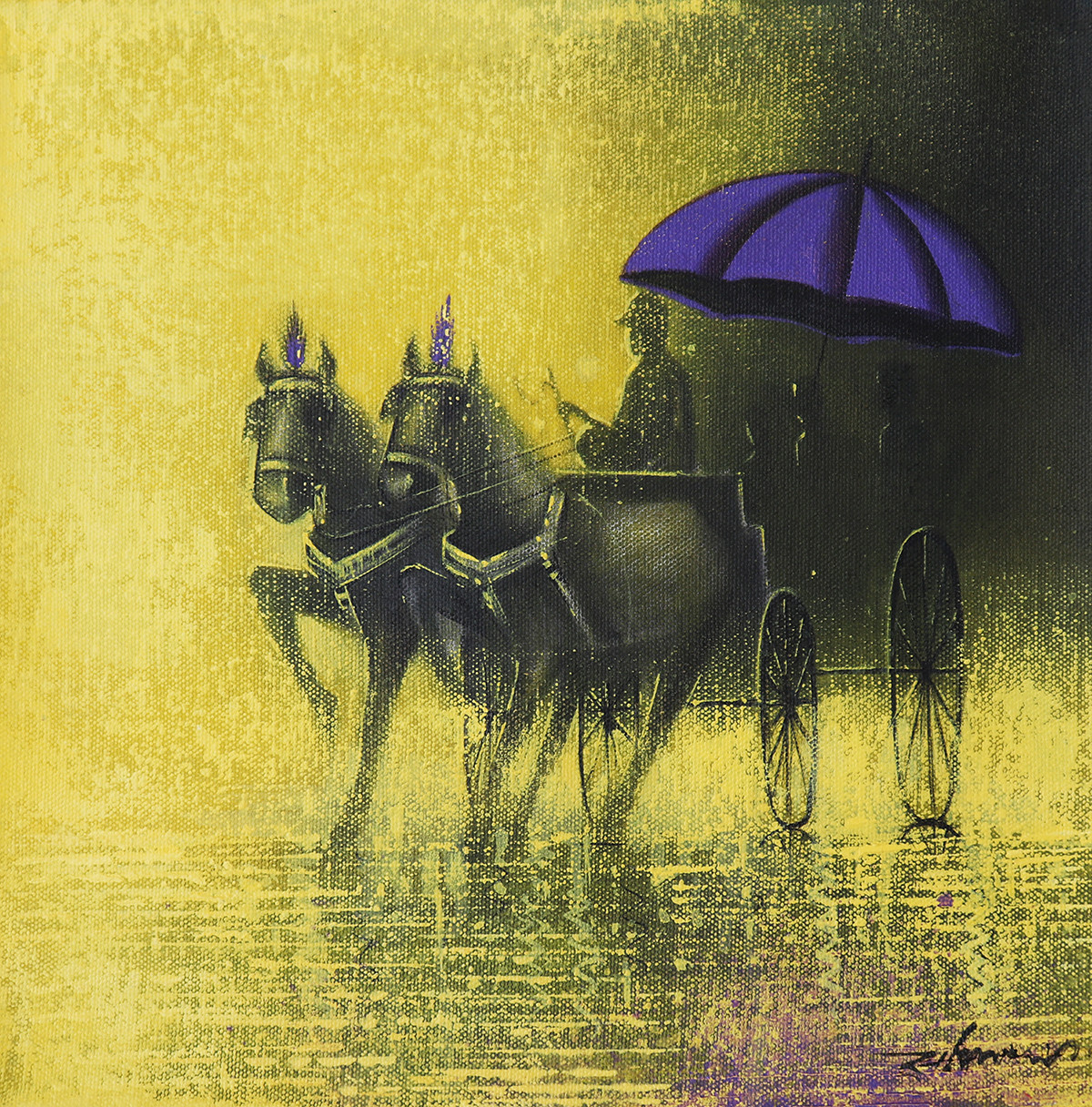 Rhythmic Monsoon Ride by Somnath Bothe, Expressionism Painting, Acrylic on Canvas, Tacha color