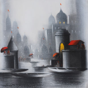 Holy Banaras by Somnath Bothe, Illustration Painting, Charcoal on Canvas, Bombay color