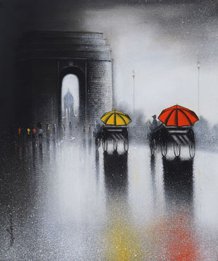India Gate by Somnath Bothe, Illustration Painting, Charcoal on Canvas, Shark color
