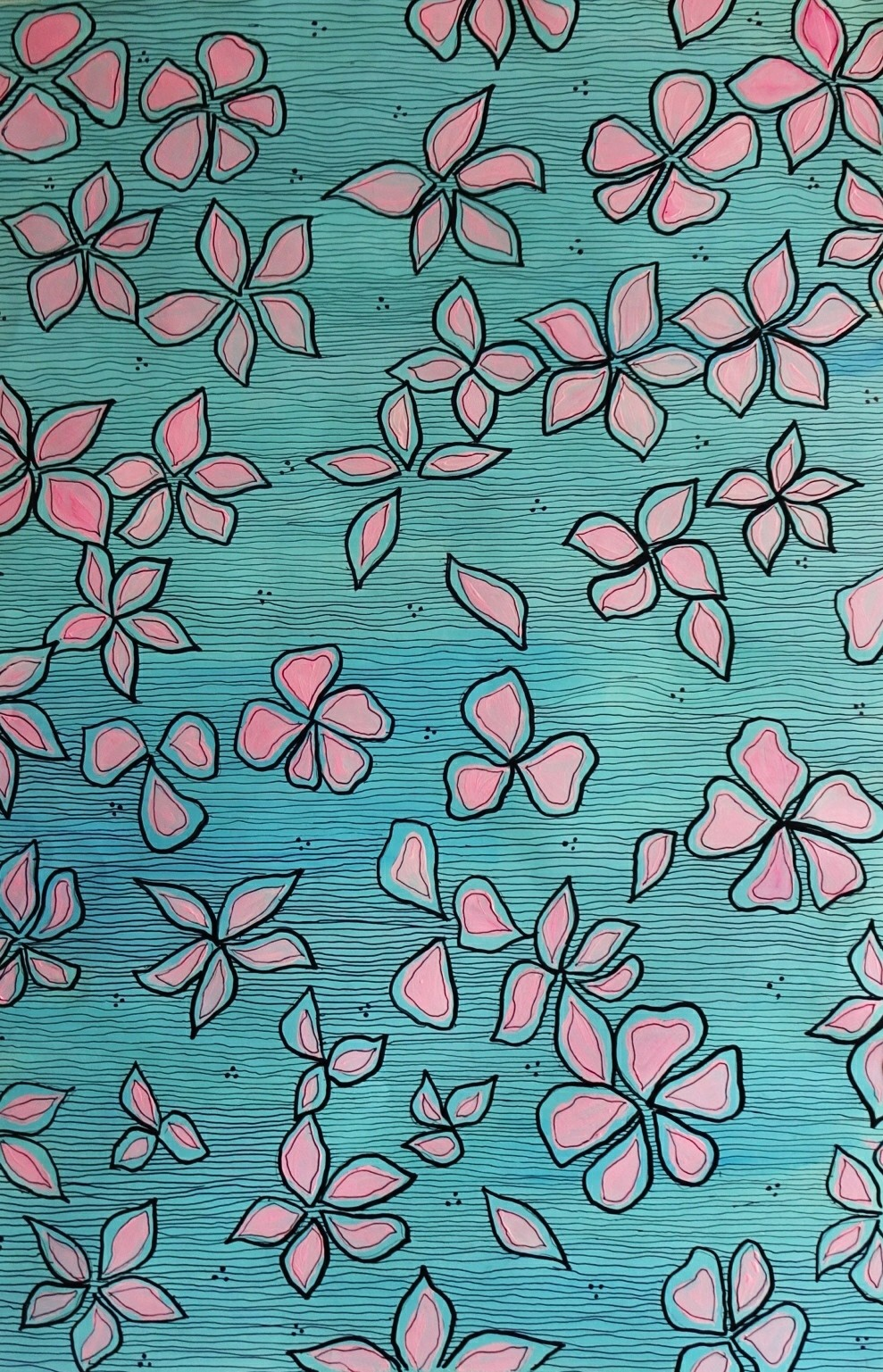 Blue Florals by Anissha Deshpande, Decorative Drawing, Acrylic & Ink on Paper, Breaker Bay color