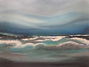 Calm storm by Triptman, Impressionism Painting, Acrylic on Canvas, Oslo Gray color
