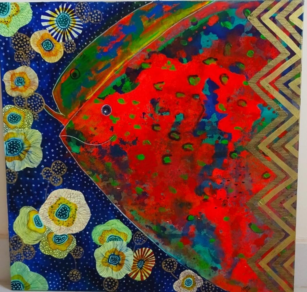 Aqua by Anissha Deshpande, Decorative Painting, Acrylic on Canvas, Thunder color