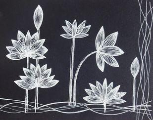 Floral 2 by Anissha Deshpande, Illustration Drawing, Ink on Paper, Iron color