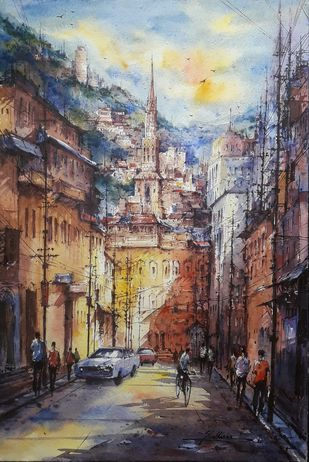 Hill city - 3 by Shubhashis Mandal, Impressionism Painting, Watercolor on Paper, Tundora color