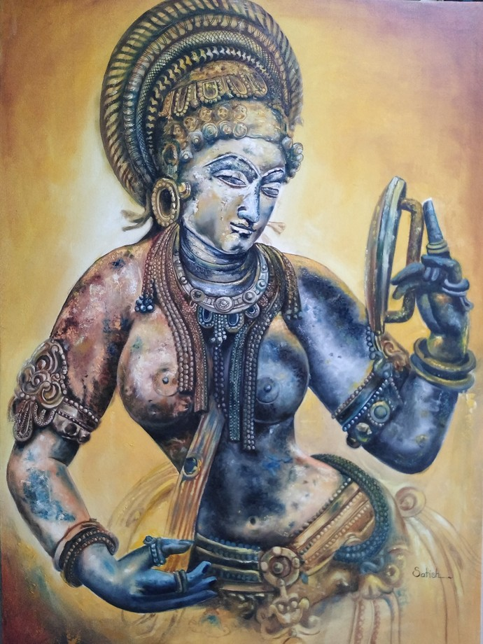 Soundaryvati by Satish bhagade, Expressionism Painting, Oil on Canvas, Mongoose color
