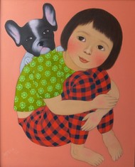 MY PUPPY by Meena Laishram, Expressionism Painting, Acrylic on Canvas, Antique Brass color