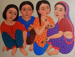 MEHENDI WALI by Meena Laishram, Expressionism Painting, Acrylic on Canvas, Sepia Skin color