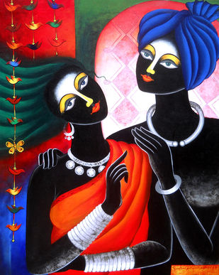tribal couple by Sumitra Chattopadhyay, Expressionism Painting, Acrylic on Canvas, Cinnabar color