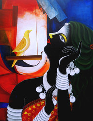 Tribal women by Sumitra Chattopadhyay, Expressionism Painting, Acrylic on Canvas, Wafer color