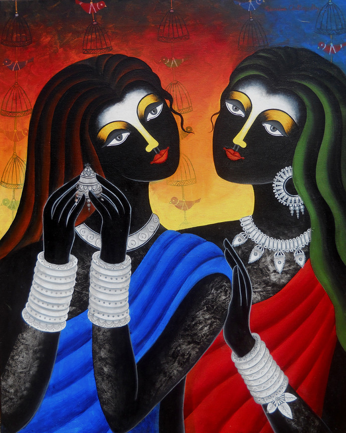 Friendship by Sumitra Chattopadhyay, Expressionism Painting, Acrylic on Canvas, Thunder color