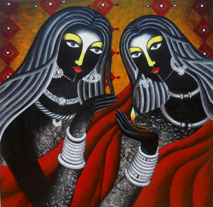 Friendship i by Sumitra Chattopadhyay, Expressionism Painting, Acrylic on Canvas, Cocoa Brown color