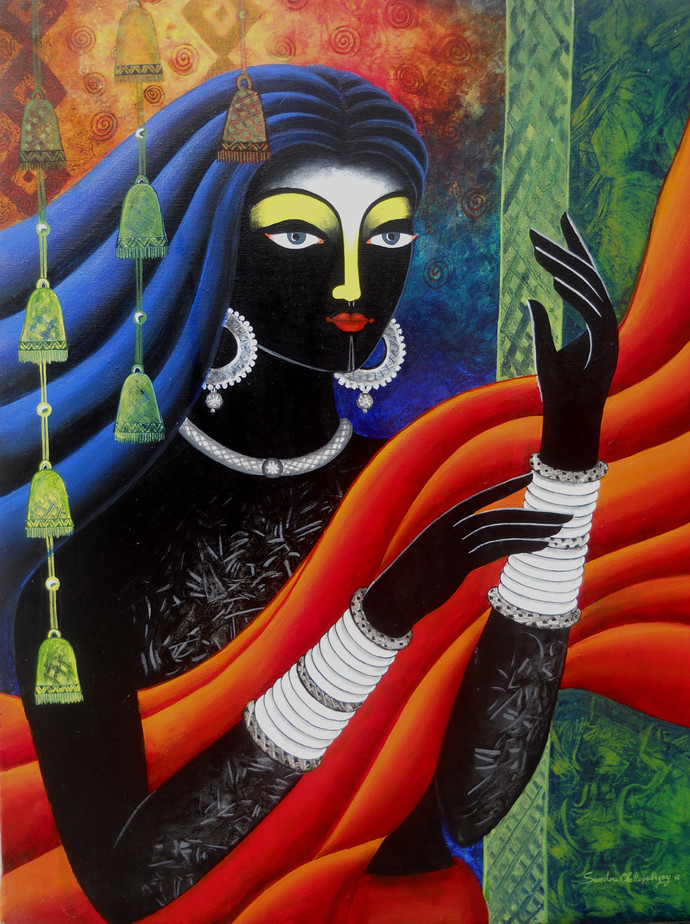 Tribal women i by Sumitra Chattopadhyay, Expressionism Painting, Acrylic on Canvas, Outer Space color