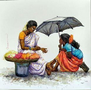 Untitled by Siva Balan, Impressionism Painting, Watercolor on Paper, Green color