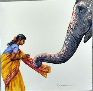 Untitled by Siva Balan, Impressionism Painting, Watercolor on Paper, Orange color