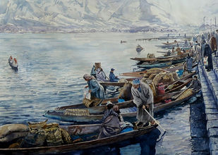 Winter market on the banks of Dal Lake by Masood Hussain, Impressionism Painting, Watercolor on Paper, Swirl color