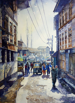 Downtown, Srinagar by Masood Hussain, Impressionism Painting, Watercolor on Paper, Cloudy color