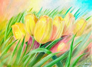 Kashmir Tulips by K SURESH KUMAR, Decorative Painting, Oil on Canvas, Putty color