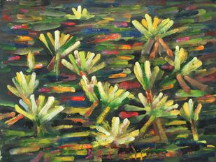 Lilies-1 by Uttam Bhowmik, Abstract Painting, Watercolor on Paper, Pearl Bush color