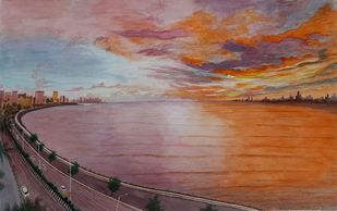 Sunset at Marine Drive (Mumbai) by Surendra Kumar Srivastava, Impressionism Painting, Pen, pencil, watercolour on paper, Opium color
