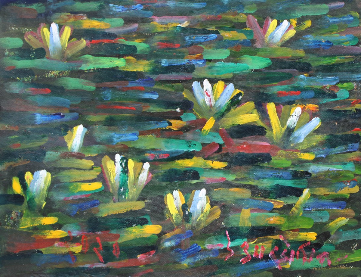 Lilies-2 by Uttam Bhowmik, Abstract Painting, Watercolor on Paper, Pearl Bush color