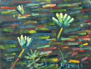 Lilies-3 by Uttam Bhowmik, Abstract Painting, Watercolor on Paper, Nandor color