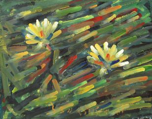 Two Lilies by Uttam Bhowmik, Abstract Painting, Watercolor on Paper, Axolotl color