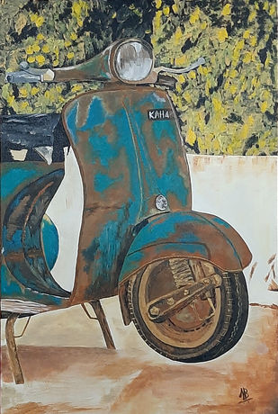 Obsolete Scooter 01 by Tejal Bhagat, Expressionism Painting, Acrylic on Canvas, Makara color
