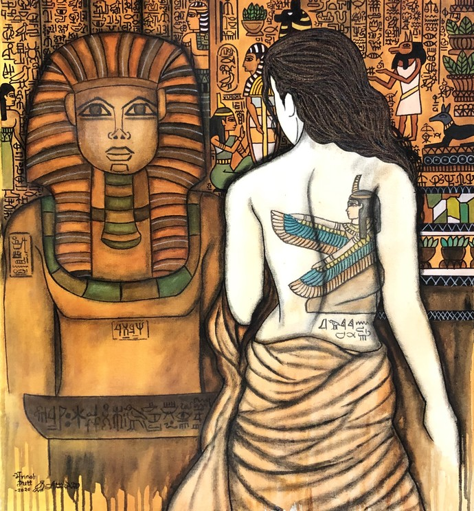 Cleopatra by Mrinal Dutt, Expressionism Painting, Mixed Media on Canvas, English Walnut color