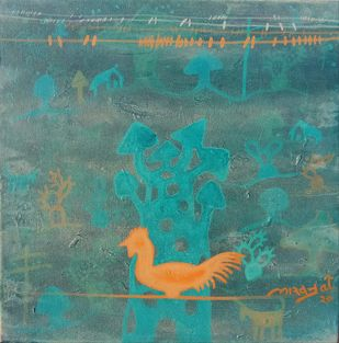golden memories by Lakhan Singh Jat, Expressionism Painting, Acrylic on Canvas, Wintergreen Dream color