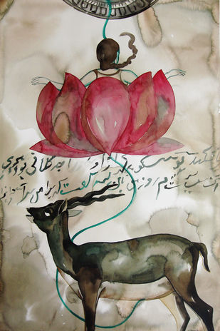 Insignia- The Deer by Nirmala Biluka, Expressionism Painting, Watercolor and charcoal on paper, Nomad color