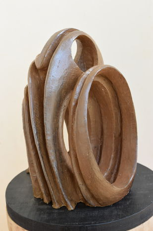 Wave of Thoughts by Aarti Gupta Bhadauria, Art Deco Sculpture | 3D, Terracotta, Roman Coffee color