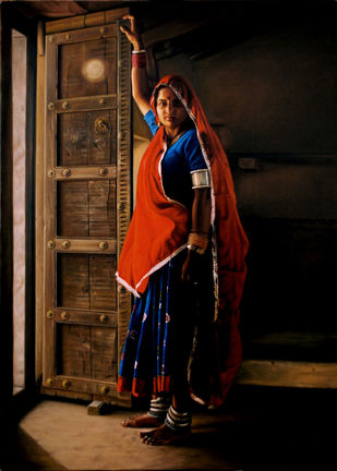 The woman at my ancestral door by B S Hada, Realism Painting, Oil on Canvas, Brown color