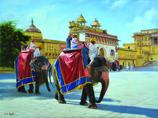 Jaleb chowk safari by B S Hada, Photorealism Painting, Oil on Canvas, Pickled Bluewood color